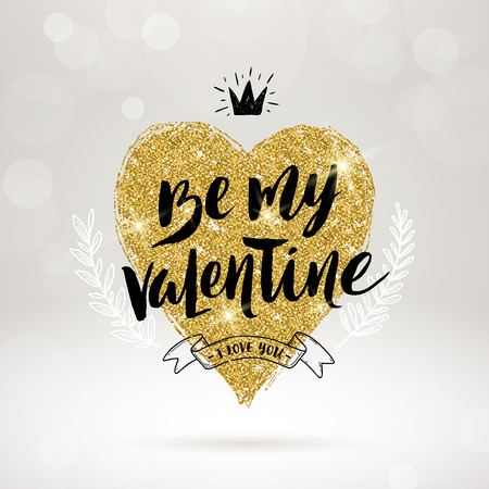 shine: Valentines day hand drawn calligraphy, doodle elements and glitter gold heart. Vector illustration. Illustration