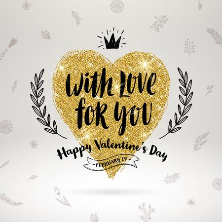 Valentijnsdag handgetekende kalligrafie, doodle elementen en glitter goud hart. Vector illustratie.
