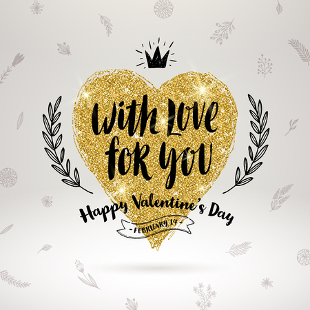 gold floral: Valentines day hand drawn calligraphy, doodle elements and glitter gold heart. Vector illustration. Illustration