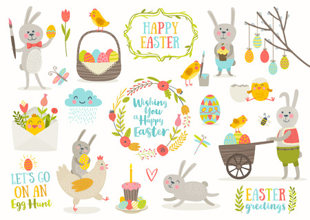 cupcakes isolated: Set of cute Easter cartoon characters and design elements.