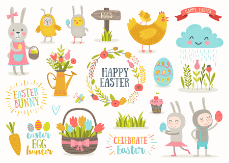 girl: Set of cute Easter cartoon characters and design elements.