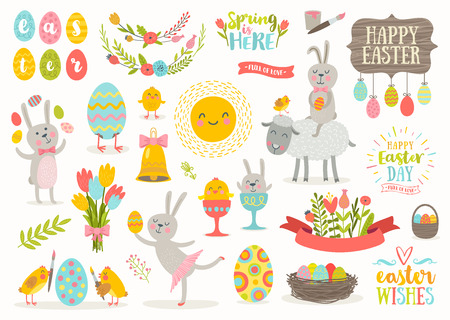 poult: Set of cute Easter cartoon characters and design elements.