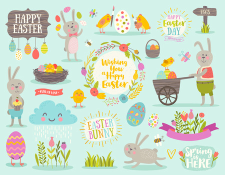 sun: Set of cute Easter cartoon characters and design elements.