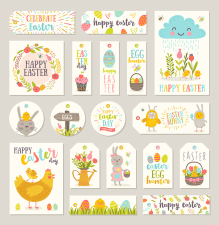 Set of Easter gift tags and labels with cute cartoon characters and type design.