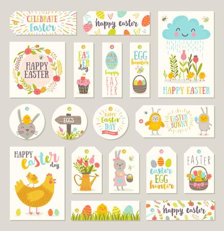 Set Ostern Geschenk-Tags und Labels mit niedlichen Comic-Figuren und Art Design. Vektorgrafik