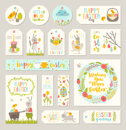 cupcake illustration: Set of Easter gift tags and labels with cute cartoon characters and type design.