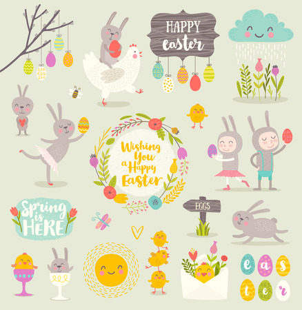 painting: Set of cute Easter cartoon characters and design elements.