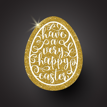 Easter egg with calligraphic greeting - Vector illustration Vetores
