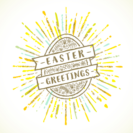 Easter egg with greeting and sunburst - Vector illustration.