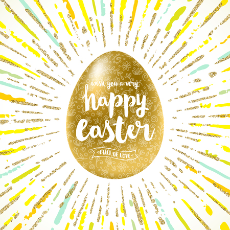 golden egg: Easter egg with holiday greeting - Vector illustration.