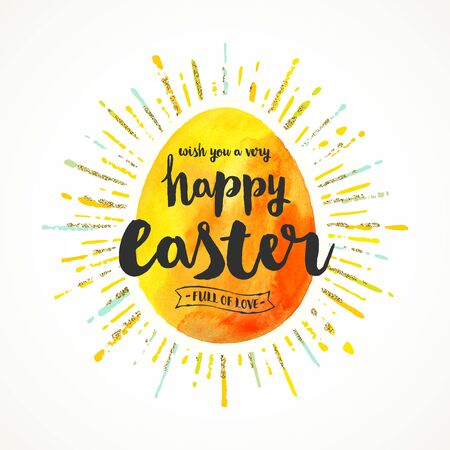 Watercolor Easter egg with sunburst and calligraphic greeting - Vector illustration. Illustration