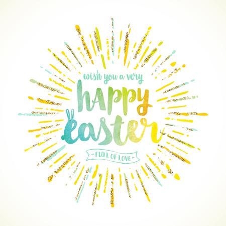 Easter greeting with sunburst - vector illustration.