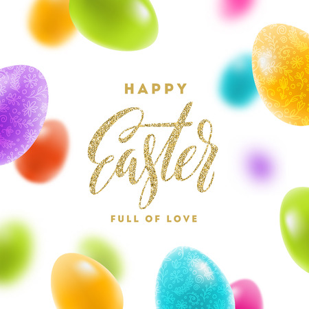 festive: Easter greeting card - colorful painted eggs and glitter gold type design