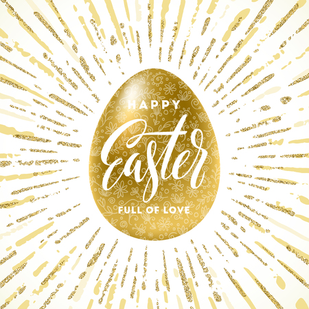 golden egg: Golden Easter egg with holiday greeting - Vector illustration.