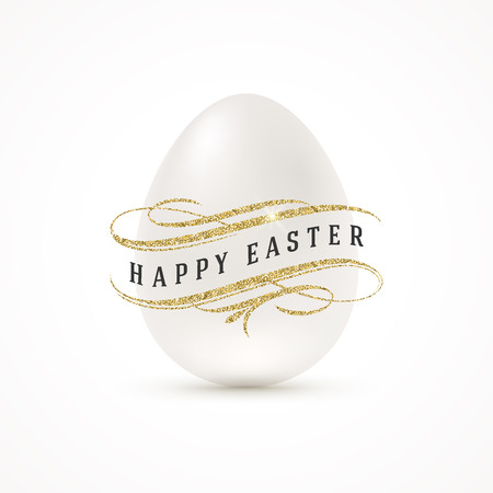 shine: White egg and Easter greeting with glitter gold decor  - vector illustration.