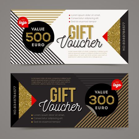 black background: Gift voucher template with glitter gold elements. Vector illustration. Design for invitation, certificate, gift coupon, ticket, voucher, diploma etc.