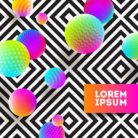 Abstract vector illustration - multicolored ball on a black and white geometric background.
