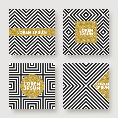 geometria: Set of abstract vector design, Glitter gold banner on a black and white geometric striped background. Design for invitation, greeting card, cover or flyer