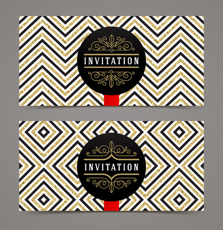 flyer background: Vector template design for invitation. Black space for text on a glitter gold geometric background. Design for invitation, greeting card, cover, label or flyer.