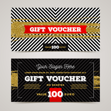 Gift voucher template with glitter gold elements. Vector illustration. Design for invitation, certificate, gift coupon, ticket, voucher, diploma etc.