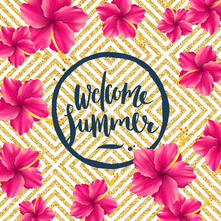 Welcome summer - glitter gold geometric background with tropical flowers and brush calligraphy greeting. Vector illustration.