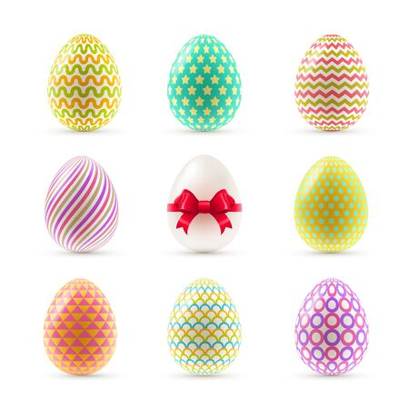 traditional pattern: A set of colorful painted Easter eggs. Vector illustration