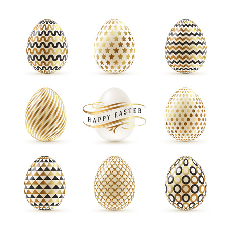 traditional pattern: A set of Easter eggs decorated with gold. Vector illustration Illustration