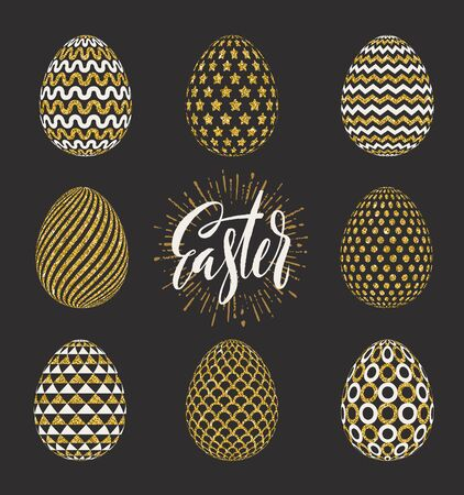 traditional pattern: A set of Easter eggs decorated with glitter gold and brush calligraphy greeting. Vector illustration