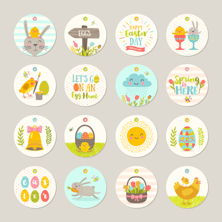 gift basket: Set of Easter gift tags and labels with cute cartoon characters and type design . Easter greetings with bunny, chickens, eggs and flowers. Vector illustration.