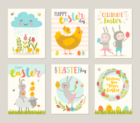 painting: Set of Easter greeting card with cartoon characters, flowers, chickens and eggs. Vector illustration.