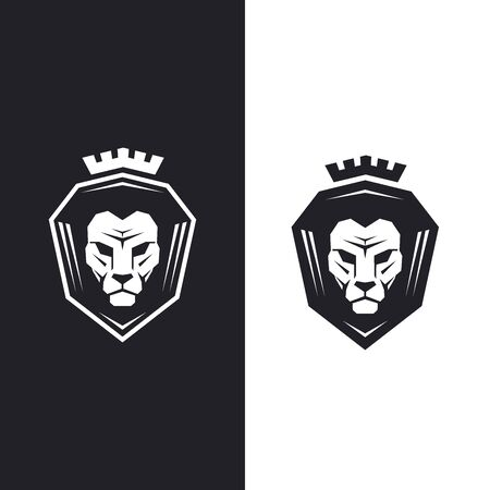 Lion head with king crown - vector illustration Illustration