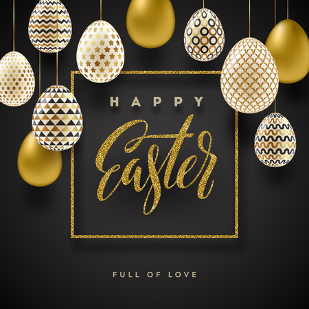 traditional pattern: Easter vector illustration with glitter gold calligraphic greeting and Easter eggs decorated with gold.