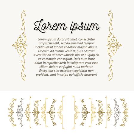 book: Set of ornamental flourishes braces. Page decor design elements. Vector illustration.