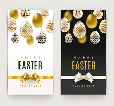 Pasen wenskaartjes met eieren versierd met goud. Vectorillustratie.