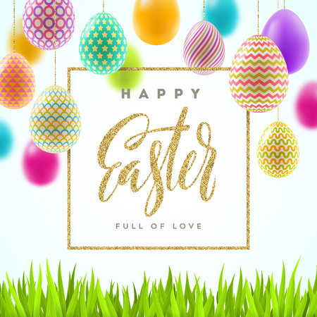 Artistic Easter vector illustration with glitter gold calligraphic greeting and multicolored painted Easter eggs.