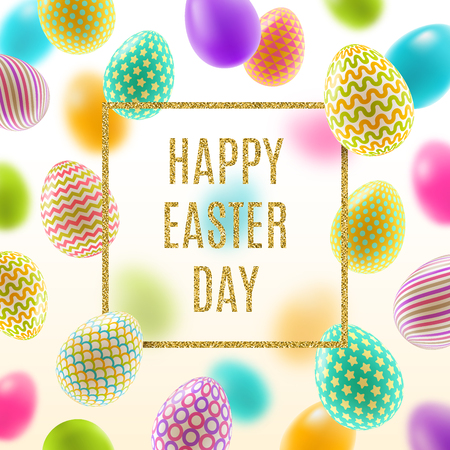 Beautiful Easter vector illustration with glitter gold greeting and multicolored painted Easter eggs.
