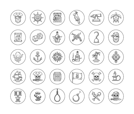 flag: Pirate vector set - line drawn different objects, items, signs and symbols Illustration