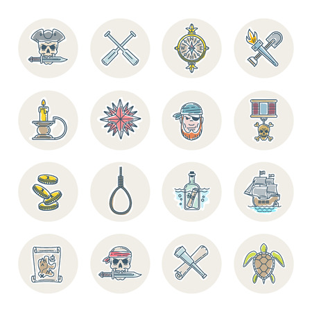Pirate vector set  line drawn different objects, items, signs and symbols. Illustration