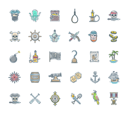 ship anchor: Pirate vector set - line drawn different objects, items, signs and symbols Illustration