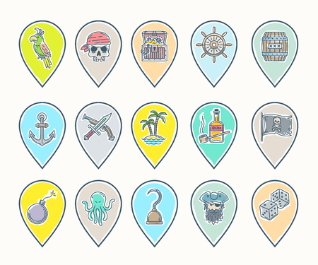 ahoy: Pirate vector set - line drawn map pins with different objects, items, signs and symbols Illustration