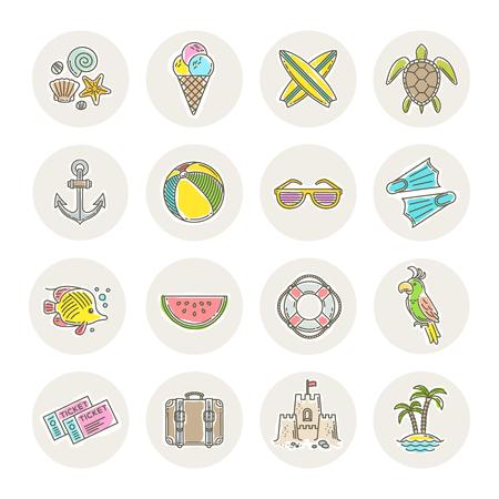 voyage: dessin ligne vecteur icônes - vacances d'été, les vacances et les objets voyage, objets, signes et symboles Illustration
