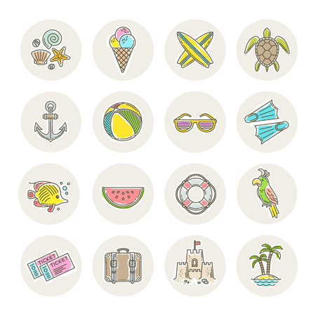 island: Line drawing vector icons - Summer vacation, holidays and travel objects, items, signs and symbols