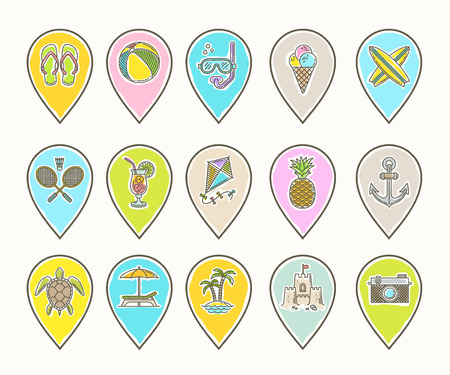 Line drawing vector map pins - Summer vacation, holidays and travel objects, items, signs and symbols