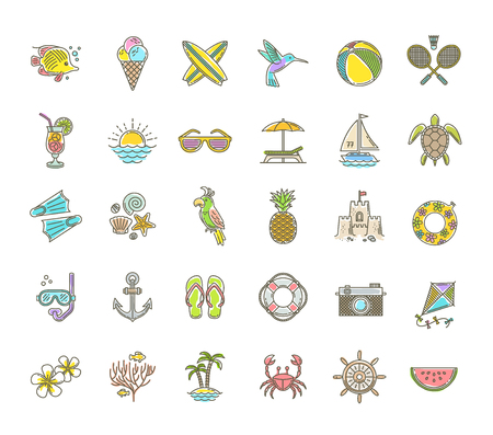 Line drawing vector icons - Summer vacation, holidays and travel objects, items, signs and symbols