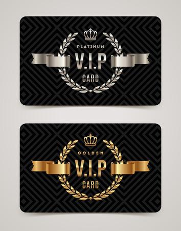 VIP carte d'or et de platine - conception de type avec la couronne, couronne de laurier et le ruban