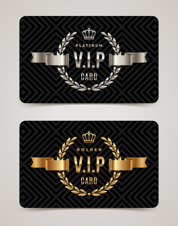 shiny black: VIP golden and platinum card - type design with crown, laurel wreath and ribbon