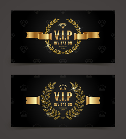 Vip golden invitation template type design with crown, laurel wreath and ribbon on a black pattern background. Vector illustration.