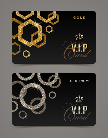 exclusive: VIP golden and platinum card template. Vector illustration.