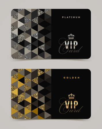 royals: VIP golden and platinum card template. Vector illustration.