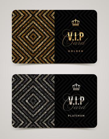 VIP golden and platinum card template. Vector illustration. Ilustração Vetorial